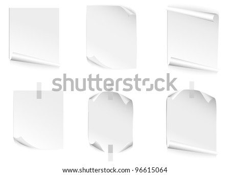 Vector image of  blank leaf of  paper with bent corners - stock vector