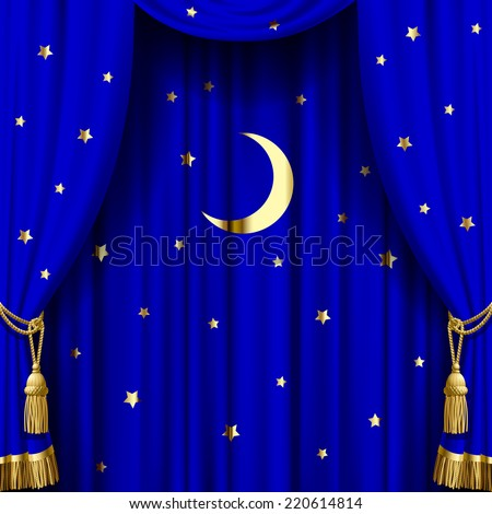 Vector image of blue curtain with gold tassels, moon and stars. Square theater and Christmas background. Artistic poster - stock vector