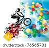 vector image of BMX cyclist - stock photo