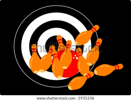 Vector image of bowling pins hit by a ball. Complete success, all of them down, right into the target, goal accomplished