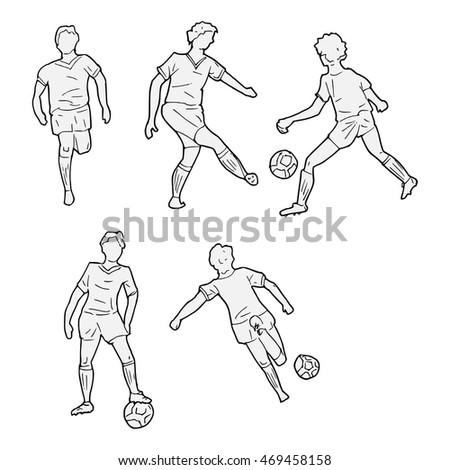 vector image of boys playing football