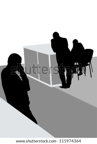Vector image of businessmen in a large office - stock vector