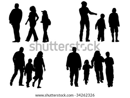 Vector image of children and parents to walk. Silhouettes on a white background