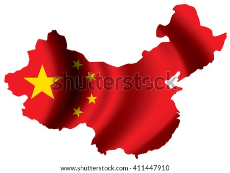 Vector image of china flag map