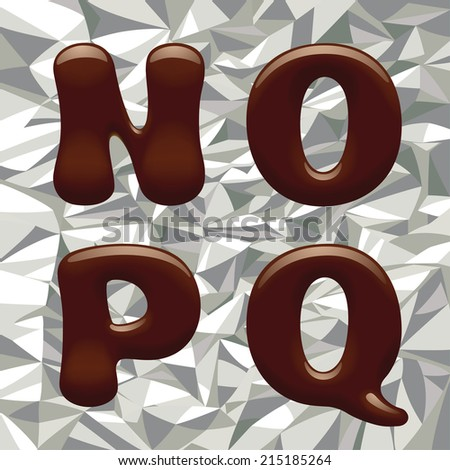Vector image of chocolate alphabet capital letter on the aluminum foil - stock vector