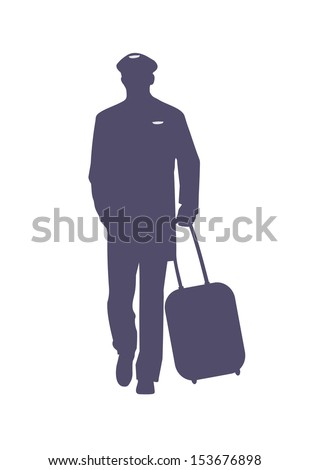 vector image of civil airplane pilot silhouette, isolated on white - stock vector