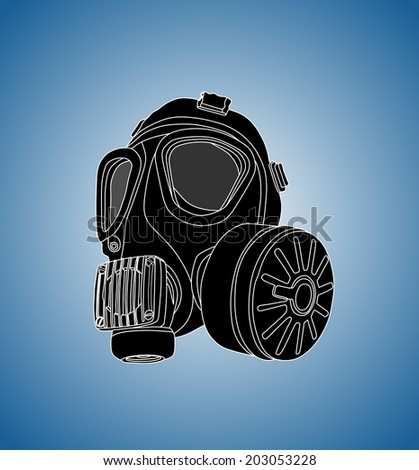 vector image of classic army gas mask isolated on blue background, toxic mask,object, device, adversity, despair, hopelessness, survival, black and white,  - stock vector