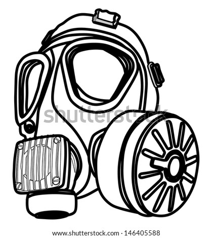 Army Gas Mask Drawing Army Gas Mask Isolated on