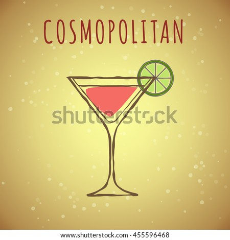 vector image of cocktail cosmopolitan, stylized in the color