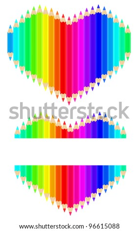 Vector image of colour pencils in form of heart - stock vector
