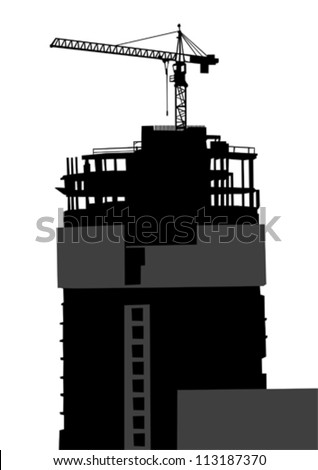 Vector image of construction cranes and buildings - stock vector