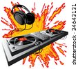 Vector image of DJ control panel on a fiery ground - stock vector
