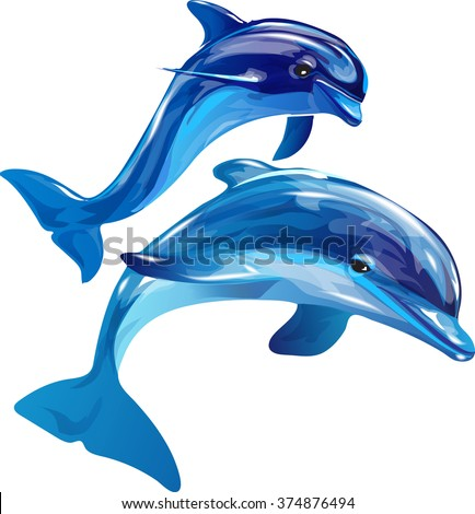 Vector image of dolphins jumping out of the water on a white background - stock vector