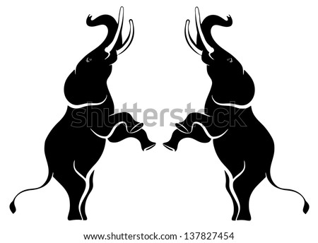 Vector image of elephants standing - stock vector