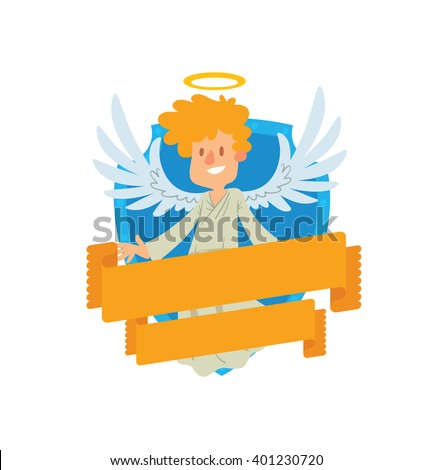Vector image of emblem in the form of a blue shield and yellow banner. Emblem with cartoon little male angel with blond hair. Angel in white chasuble, with gold halo over head. Emblem with angel. - stock vector