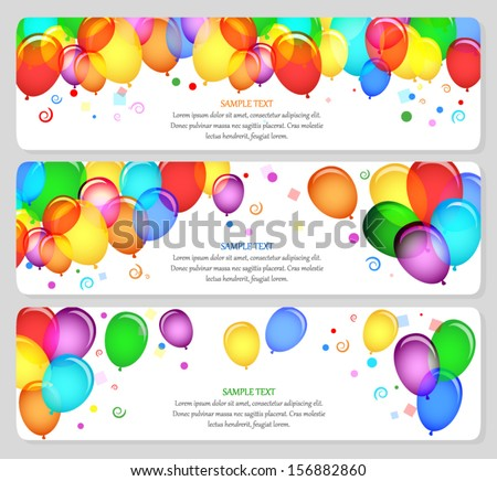 vector image of event banners with colorful balloons - stock vector