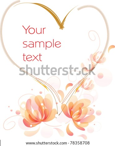 vector image of fantastic flowers with swirls with heart and space where you can place text - stock vector