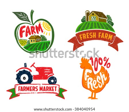 vector image of farm labels and landscape - stock vector