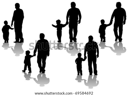 Vector image of father and son. Silhouettes on white background - stock vector