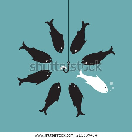 Vector image of fish and earthworm and hook. Different concept. - stock vector