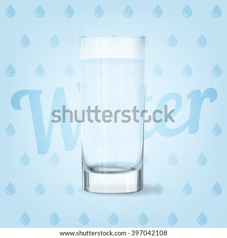 Vector image of fresh cool glass of water  - stock vector