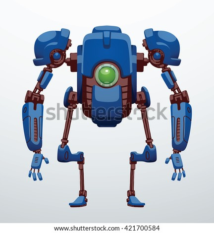 Vector image of funny blue robot with two arms and legs, with a green lens in the center of the body standing on a light gray background. Future, technology, modern. Vector humanoid robot. - stock vector