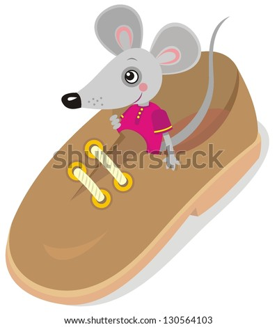 Vector image of funny mouse in shoe