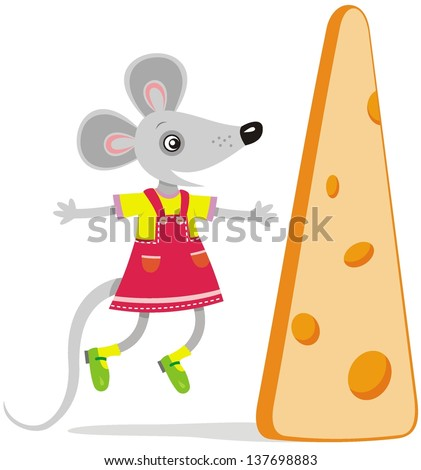 Vector image of funny mouse with cheese