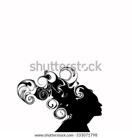 Vector image of girls and beautiful abstract hair. The outline of the profile - stock vector
