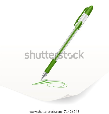 Vector image of green ballpoint pen writing on paper