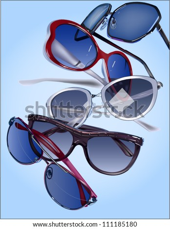 Vector image of group of sunglasses