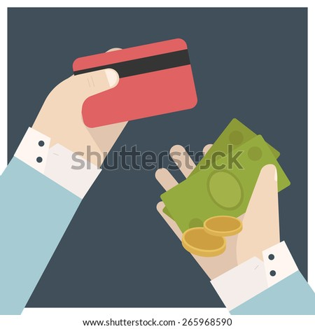 Vector image of hand money and credit card, flat style illustration icon - stock vector