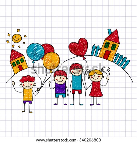 Vector image of happy children. Notebook paper. Kids drawing - stock vector
