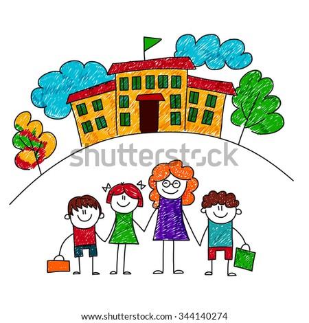 Vector image of happy children with teacher. Kids drawing - stock vector