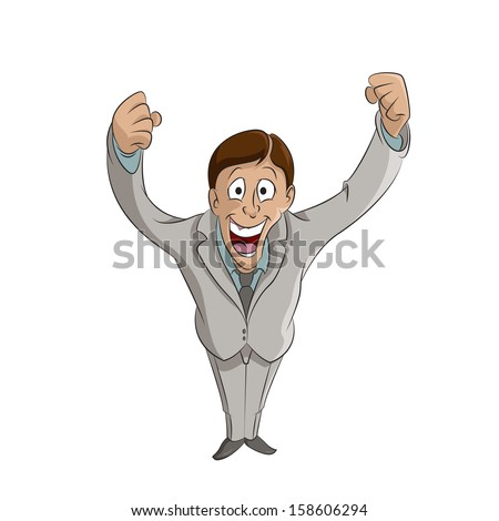 Vector image of happy Lucky man on the white background