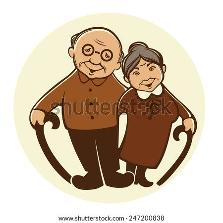 vector image of happy old people in cartoon style - stock vector