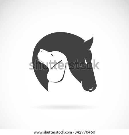 Vector image of horse and dog on white background - stock vector