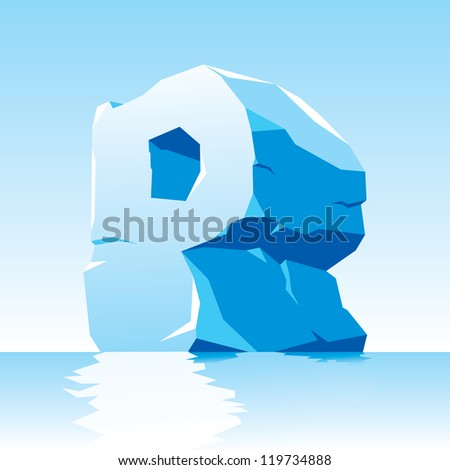 vector image of ice letter P - stock vector