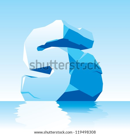 vector image of ice letter S - stock vector