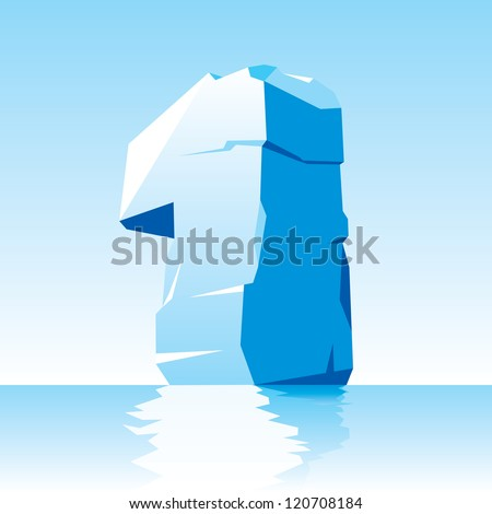 vector image of ice number 1 - stock vector