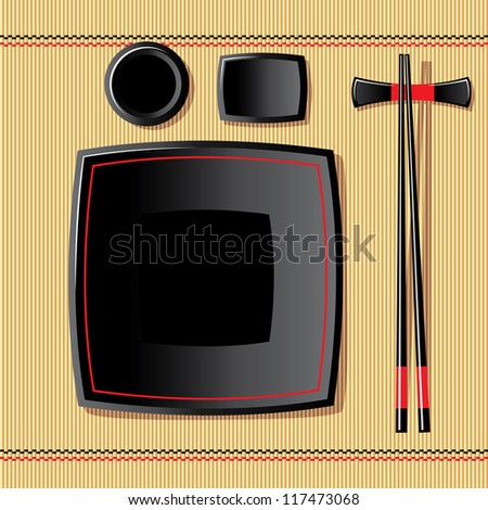 vector image of japanese tableware on a bamboo tablecloth - stock vector