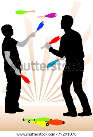 Vector image of jugglers on representation - stock vector