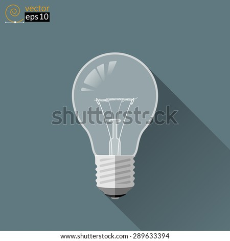 vector image of light bulb with sleeve and tungsten filament. flat style
