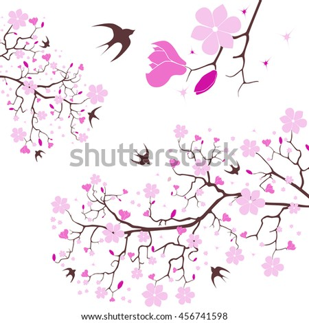 Vector image of magnolia blossom and swallow