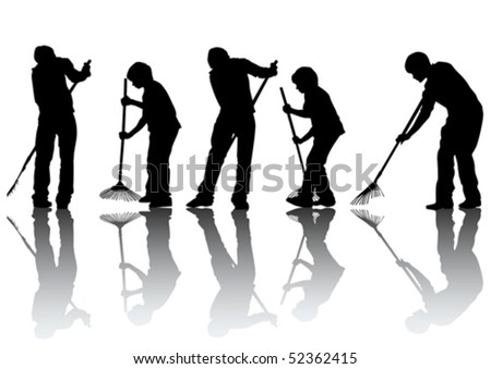 Vector image of man, sweeping leaves - stock vector