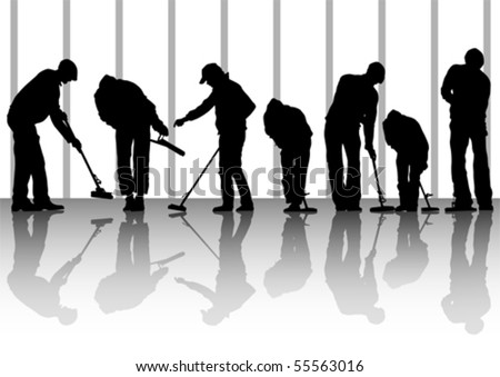 Vector image of man, sweeping leaves. Silhouette of work people - stock vector