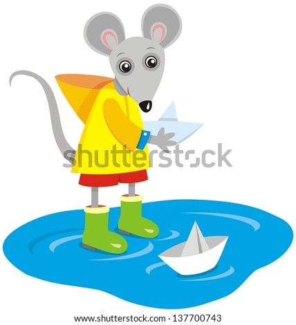 Vector image of mouse playing with paper ship