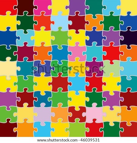 Vector image of multi colored Jigsaw Pieces