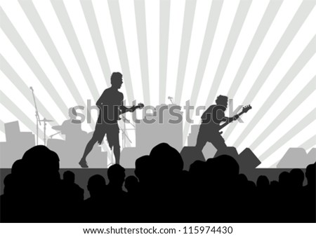 Vector image of musical group and audience - stock vector