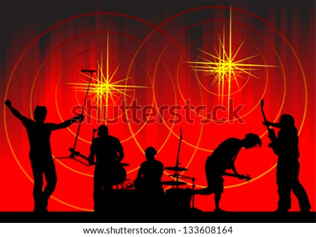Vector image of musical group and light show - stock vector